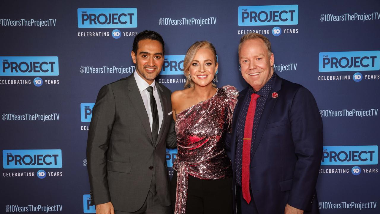 Waleed Aly, Carrie Bickmore, Peter Helliar make up part of The Project. Picture: Channel 10