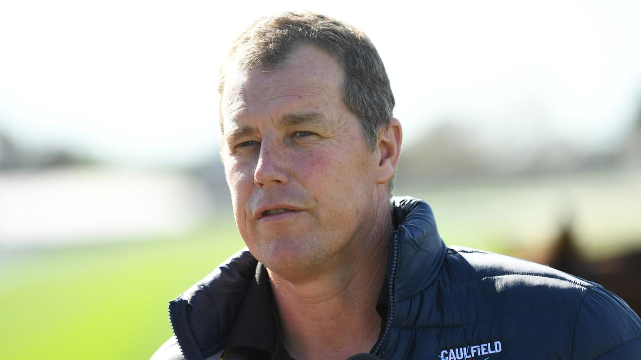 Caulfield track manager Jason Kerr can only sit and wait for forecast rain to fall on the Caulfield Cup course. Picture : AAP.