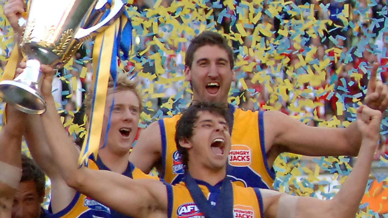 West Coast Eagles footballers celebrate their victory over the Sydney Swans in the AFL grand final on this day in 2006.