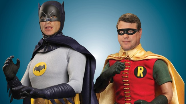 Campbell Newman and Tim Nicholls as Batman and Robin (image digitally altered).