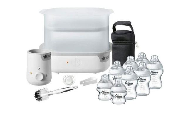 Tommee Tippee Essentials Starter Kit with Steriliser Baby Feeding Bottles Bottle Cleaning Brush and Bottle Warmer