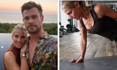 Elsa Pataky's intense workout with one-handed push-ups