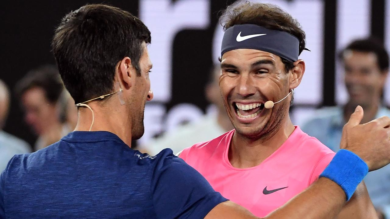 Rafael Nadal was in a very playful mood. Photo: WILLIAM WEST / AFP