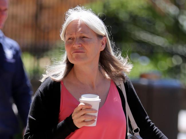 Meditation teacher Linda Livermore leaves the Supreme Court after giving evidence. Picture: John Grainger