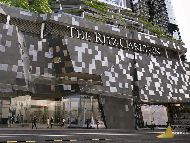 Melbourne's Ritz Carlton, above, will include sky restaurants, a sky bar, a pool, a pool bar, a gym, a day spa and a ballroom.