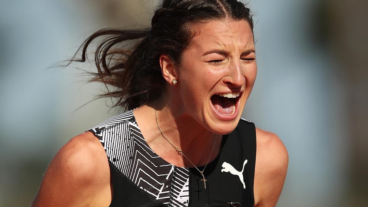 Nicola McDermott celebrates a cleared jump in the women's high jump final.