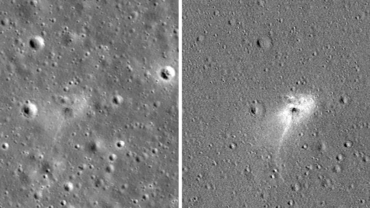 Left shows an image of the Beresheet crash site. Right shows the same image but edited to reveal dust disturbed by the crash (white). Picture: NASA