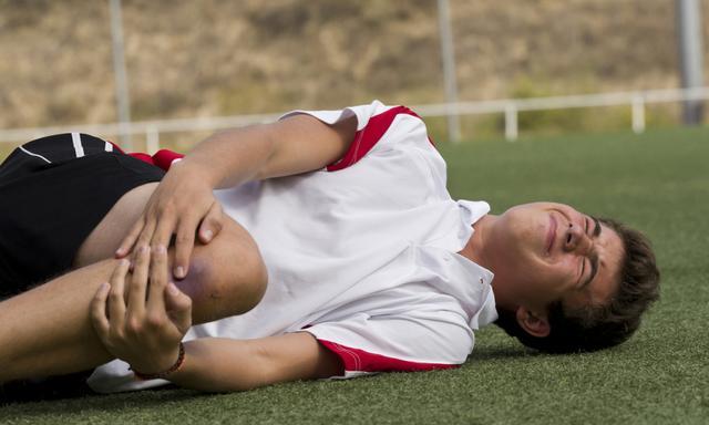 Footballer faking an injury