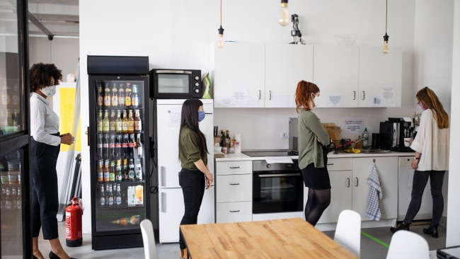"""Victorian health authorities have warned tea and break rooms in offices and construction sites are the most """"dangerous"""" place for COVID-19 transmission. Picture: Getty"""