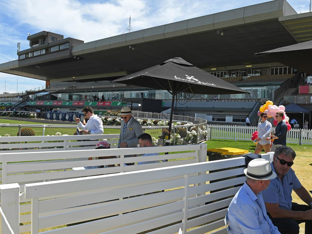 The socially distant Melbourne Cup event at Morphettville racecourse. Picture: Tom Huntley