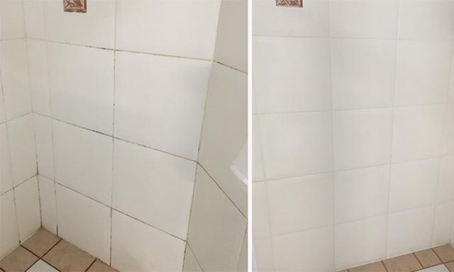 mouldy bathroom tiles before and after