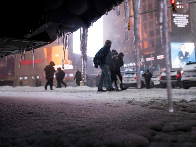 An icy Times Square in Midtown Manhattan. Picture: AFP/Jewel Samad