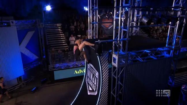 Andrea Hah beats the warped wall on Ninja Warrior