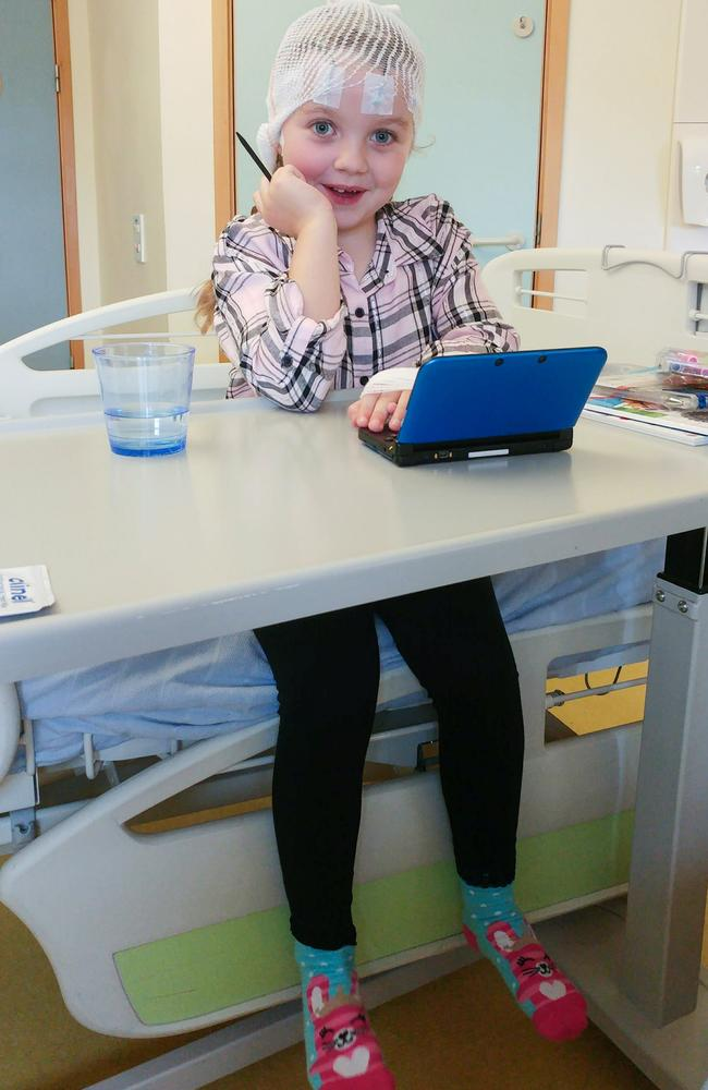 Taylor, six, is lucky to be alive. Picture: Caters News