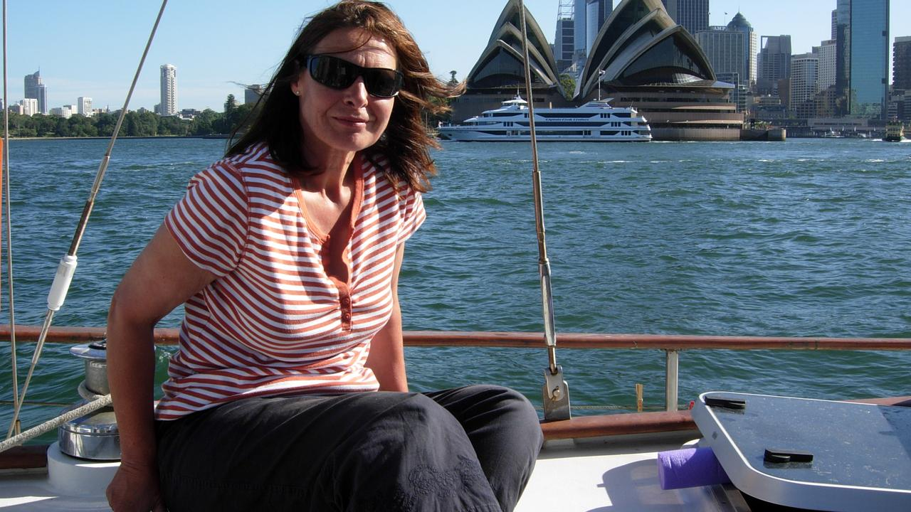 Sue Neill-Fraser on <i>The Four Winds</i> in Sydney Harbour 2008. Picture: Supplied