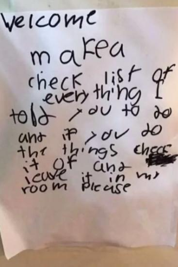 Another note by the six-year-old