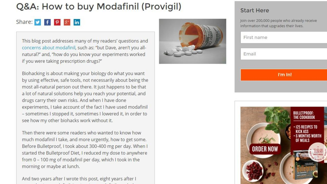 A post on a biohacking website about modafinil.