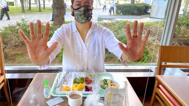 Selina Steele dining in Tokyo.