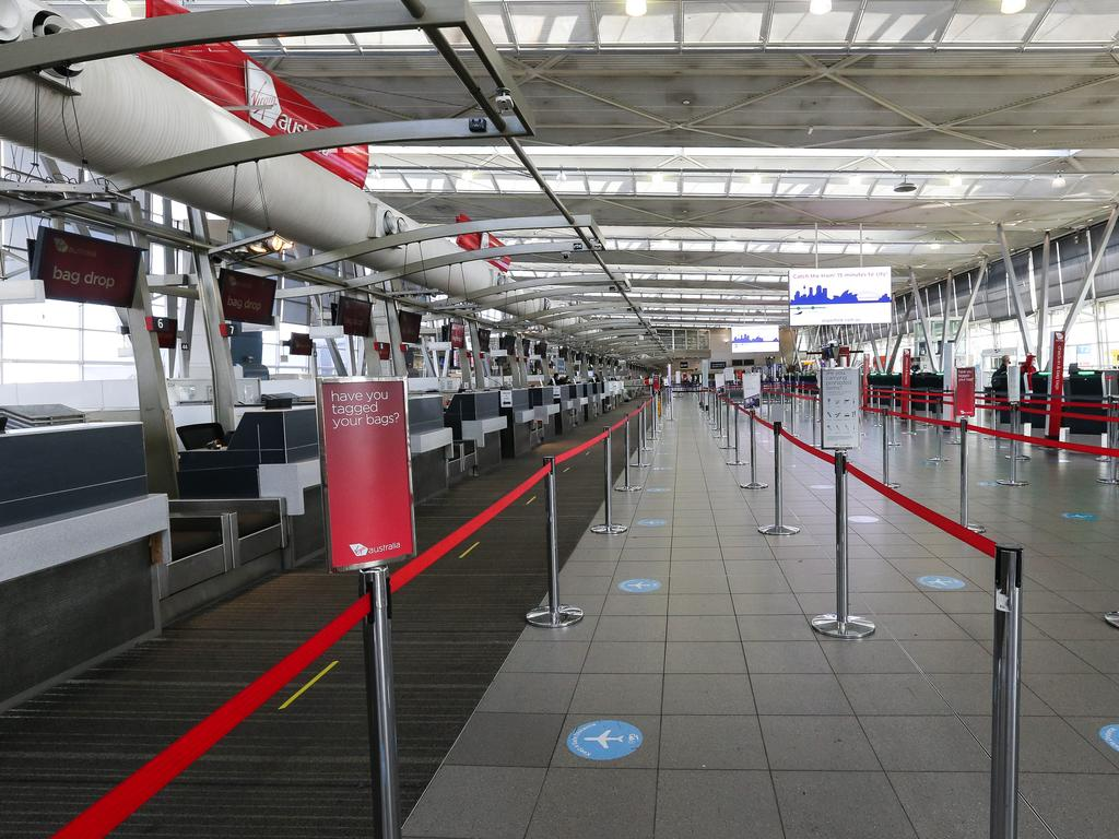 The Sydney Domestic Airport Terminal is extremely quiet as Sydneysiders go into lockdown. Picture: NCA NewsWire / Gaye Gerard