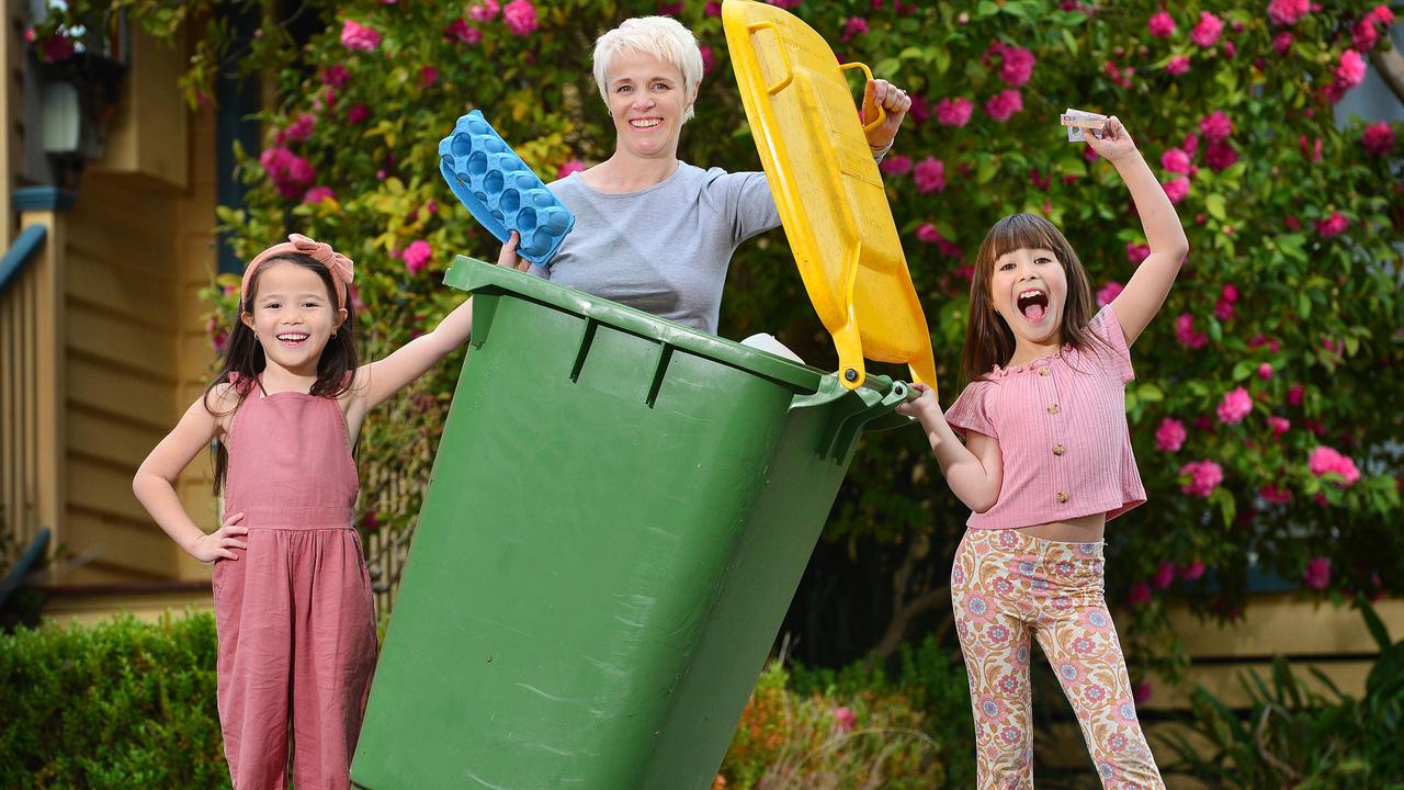 Kristy Bautista, mum to Mila, 9, and Evie, 7, is teaching her kids the value of making and saving their own money by paying them for a variety of household chores. Picture: Nicki Connolly