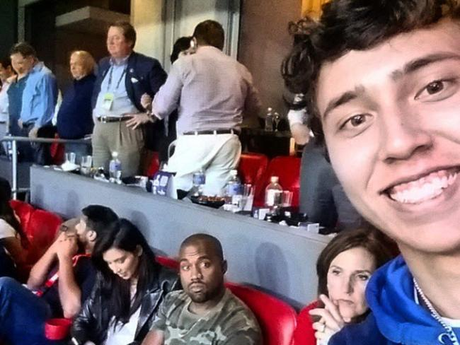 Both Kim and Kanye look truly stoked to be at the Super Bowl.