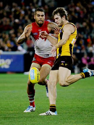 Grant Birchall will be hoping to help keep former teammate and now Sydney Swans forward Lance Franklin quiet in the game. Picture: Colleen Petch