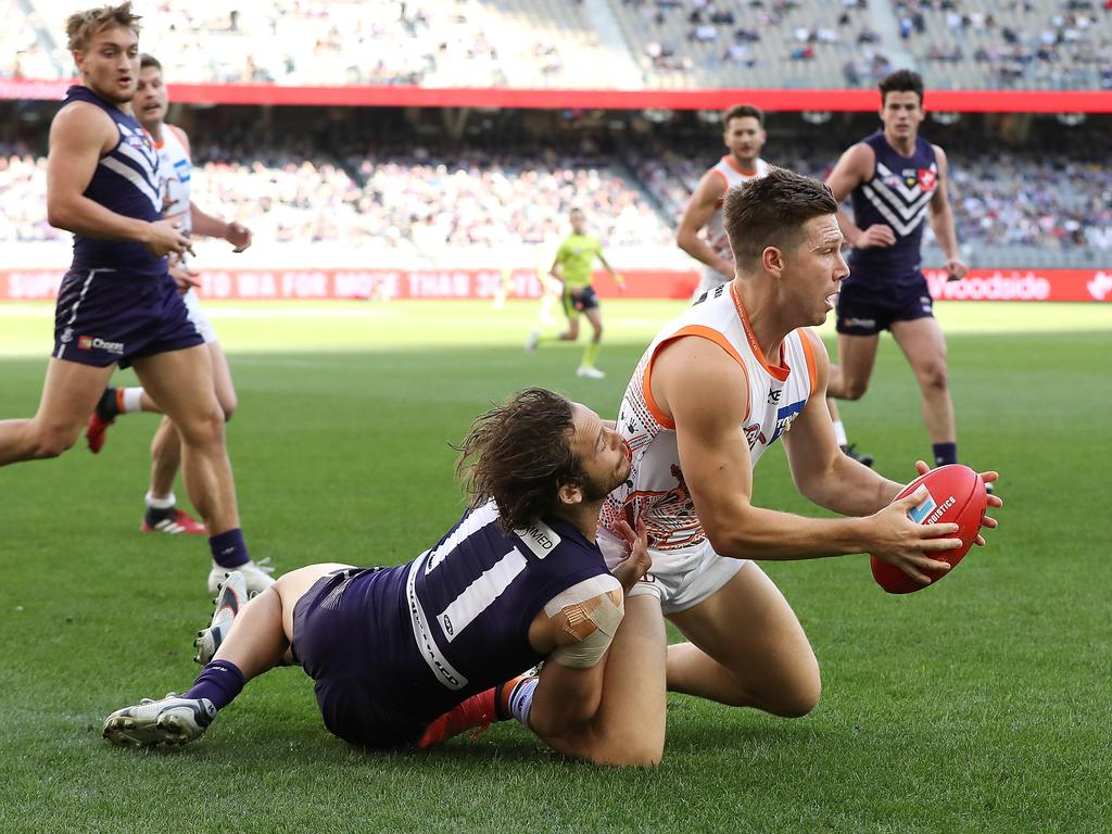 Toby Greene during the round 14 AFL match against the Fremantle Dockers.