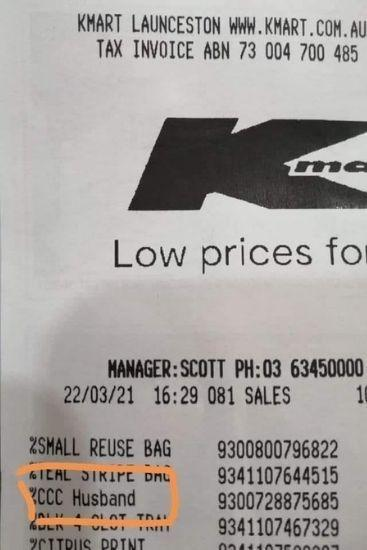 Aussie woman shares receipt fail that looks like Kmart is selling husbands