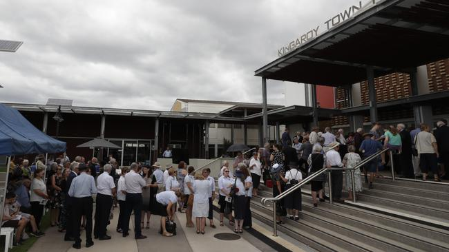 Crowds arrive for Lady Flo Bjelke-Petersen's funeral service at Kingaroy town hall. Picture: Lachie Millard