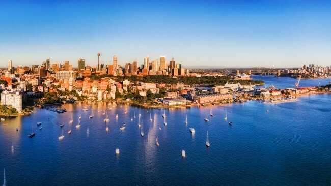 Aerial view from Potts point over Darling point and Woolloomooloo. Picture: Getty Images
