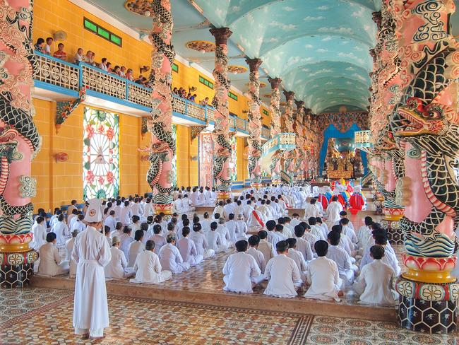 CAI DAI RELIGION Tay Ninh, the rural hamlet a three-hour drive from Saigon, is home to the Cai Dai religion which was founded here in 1926 with tourists invited to visit the colourful cathedral called the Great Divine Temple during prayer time to witness the faithful harmoniously worshipping.
