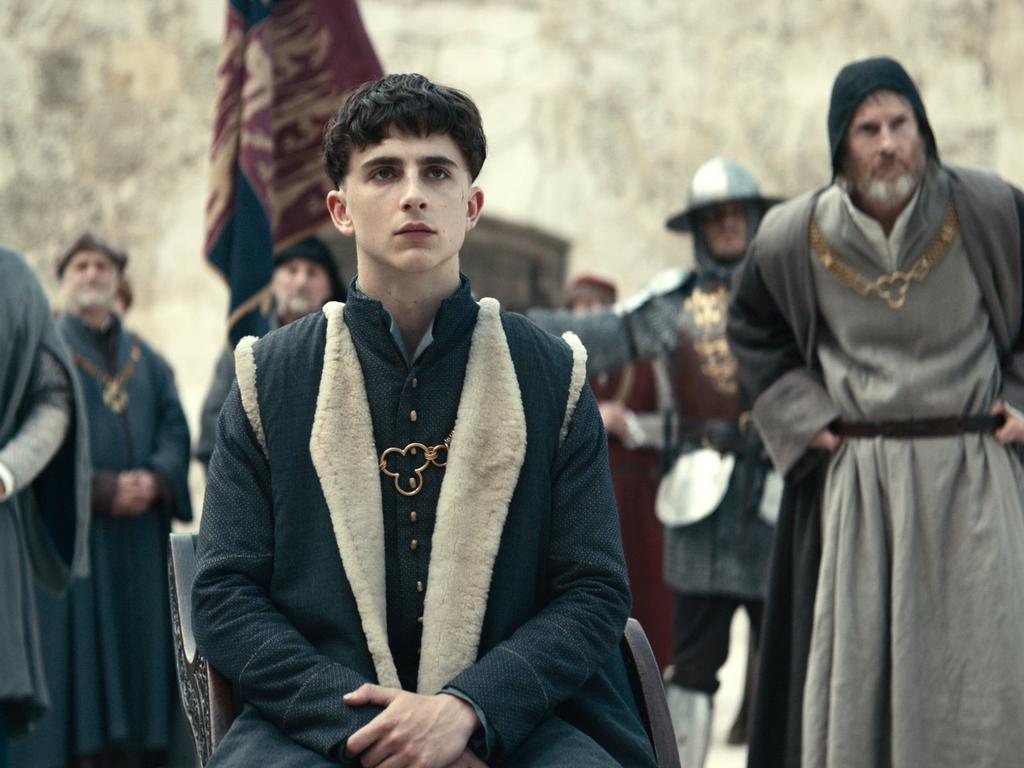 Timothee Chalamet in The King.