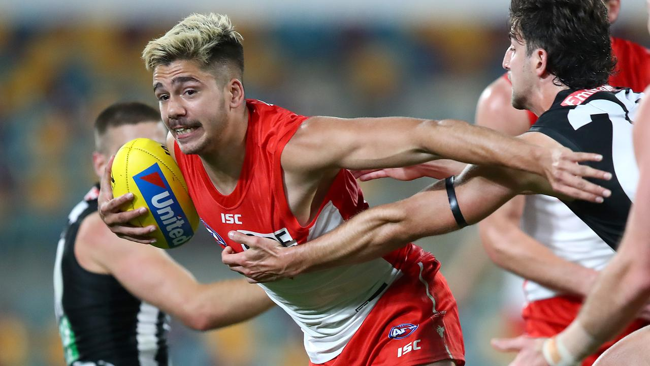 Elijah Taylor of the Swans is banned for the season. (Photo by Jono Searle/AFL Photos/via Getty Images)