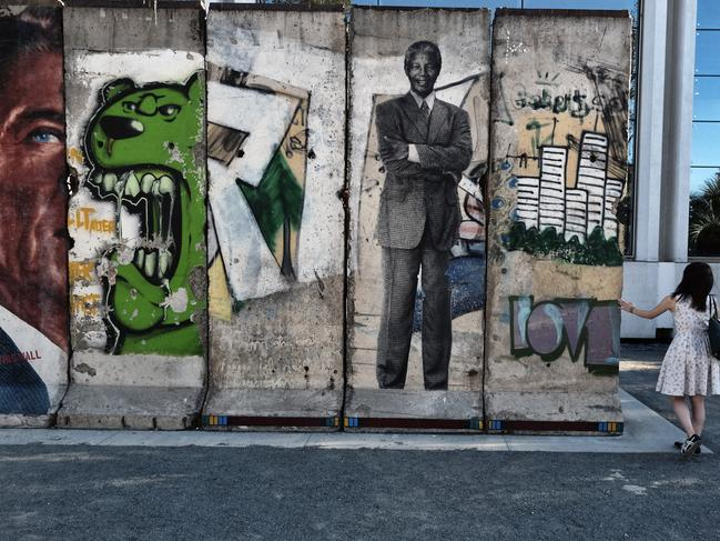 LOS ANGELES 'The Wall Along Wilshire' is an installation featuring ten sections of the original Berlin Wall, along Wilshire Blvd. in the Miracle Mile section of Los Angeles. Picture: AP