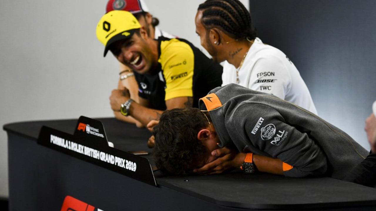 Daniel Ricciardo had Lando Norris in stitches during the British Grand Prix press conference.