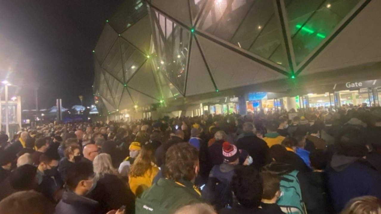 Victorian health authorities were furious after images on social media showed fans crammed into Gate 7 at AAMI Park for the Wallabies v France Test. At least two people were infected. Picture: Brianna Travers