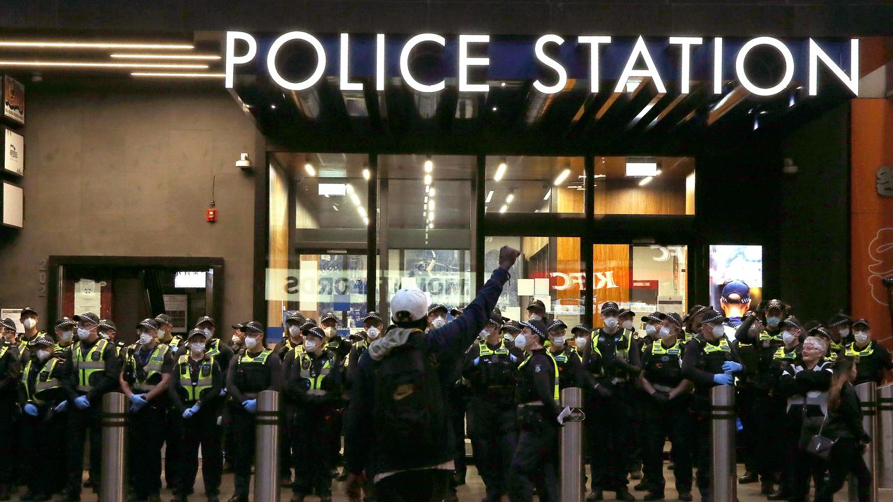 Protesters at Bourke St police station. Picture: Wayne Ludbey