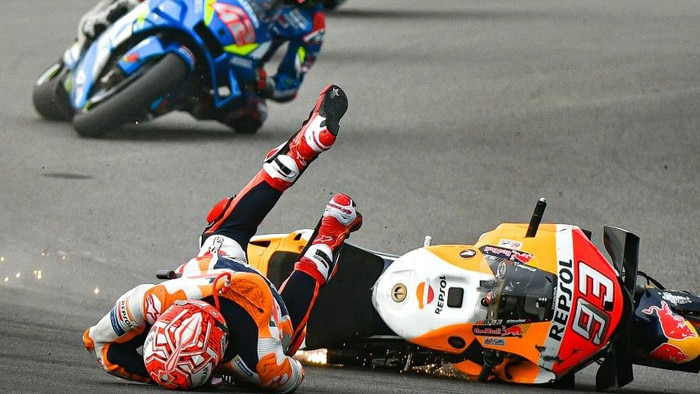 The faceplant. Ouch. Picture: motogp.com