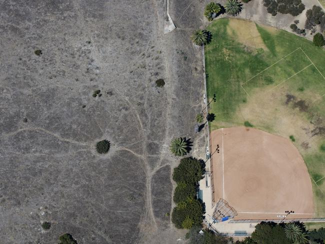 The Bogdanovich Recreation Center baseball field stands in this aerial photograph taken over San Pedro, California, US during last summer. Picture: Patrick T. Fallon/Bloomberg via Getty Images