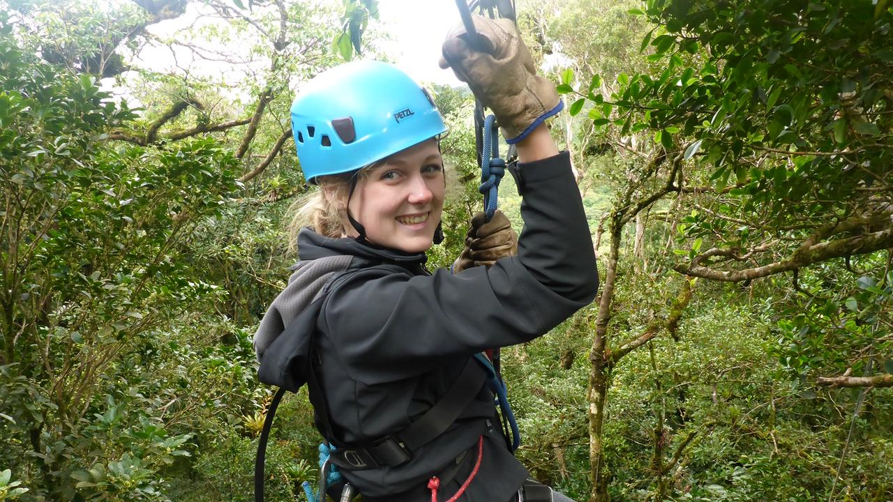 Emma Benns ziplining through Monteverde in Costa Rica.