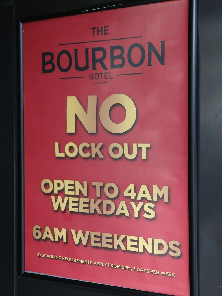 A sign posted outside a Sydney bar after the lockout laws were lifted. Picture: David Swift.