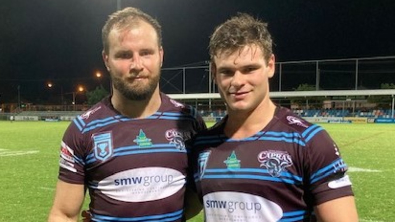 CQ Capras skipper Jack Madden (left) with Lachlan Hubner after the team's 18-all draw with the Northern Pride in Round 2 of the Intrust Super Cup.