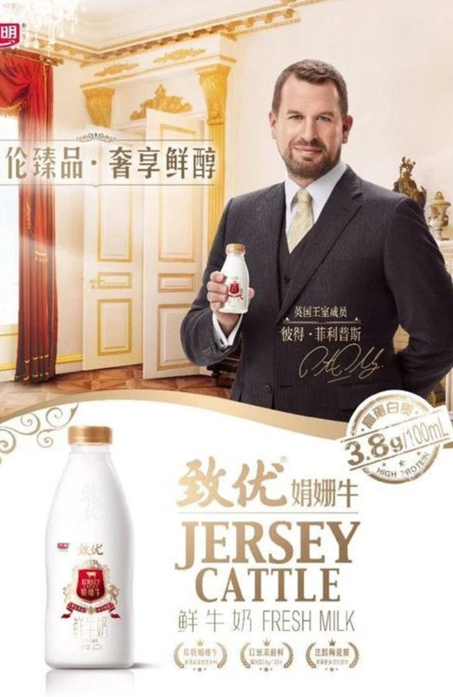 Peter Phillips caused controversy by spruiking Jersey cattle milk for a Chinese audience last year. Picture: Supplied