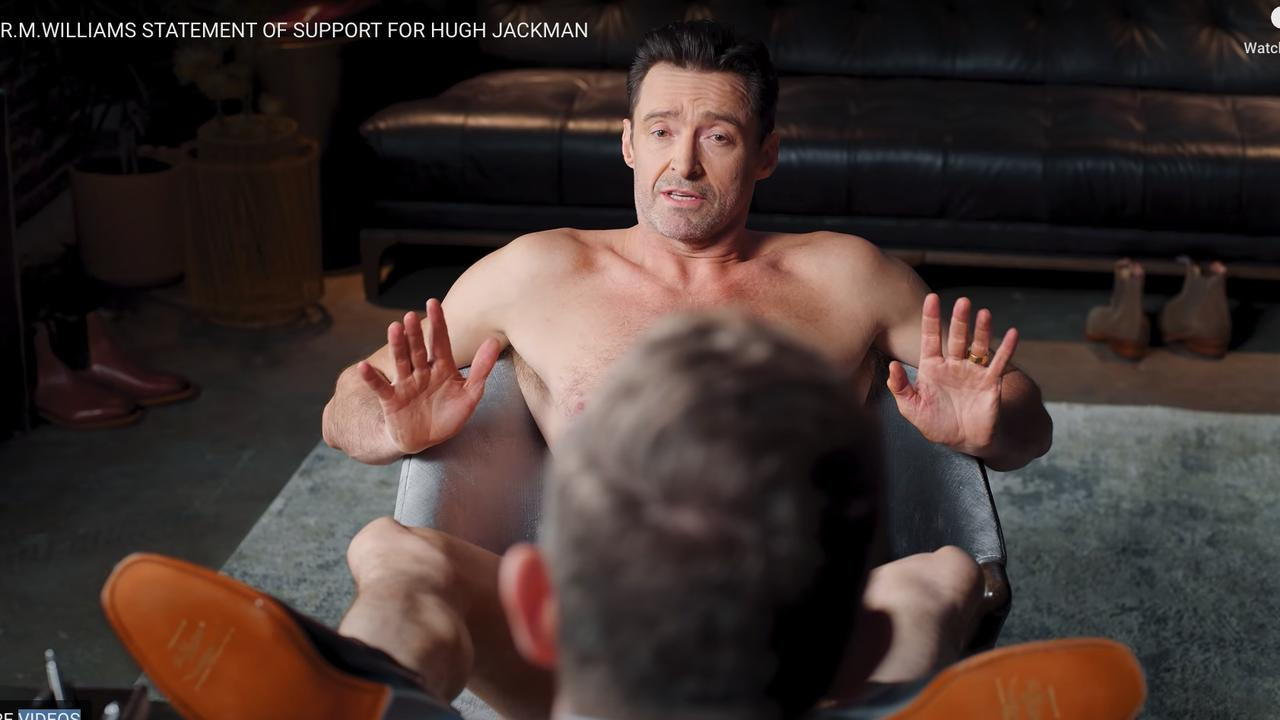 A cheeky side to Hugh Jackman. He wears nothing but boots in an ad for R.M. Williams. Source: YouTube