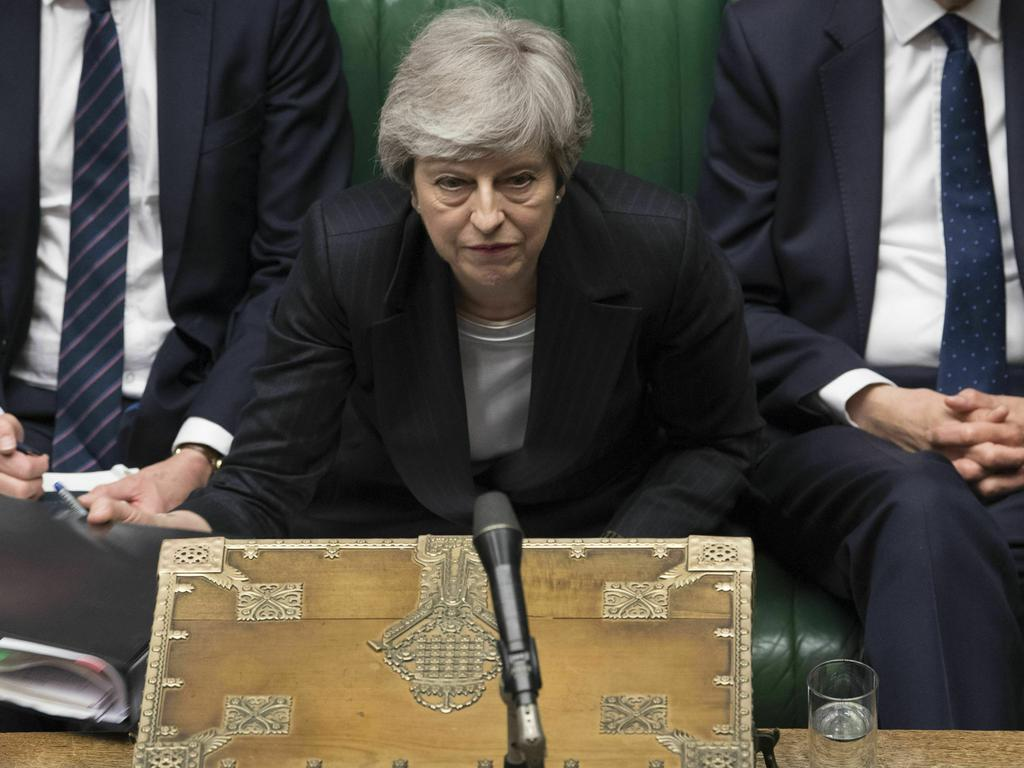 MPs overwhelmingly rejected Mrs May's EU exit plan three times, triggering a push by rivals and former allies to remove her from office as her attempts to agree on a Brexit plan appeared headed for a dead end. Picture: Mark Duffy/UK parliament via AP