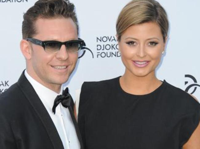 In attendance ... Holly Valance was in the audience for Lindsay Lohan's stage debut, pictured with husband Nick Candy. Picture: Supplied.