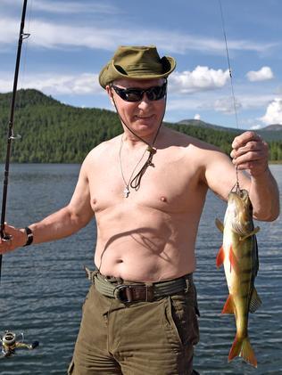 Vladimir Putin gets some fishing in. Picture: AFP/Sputnick/Alexey Nikolsky