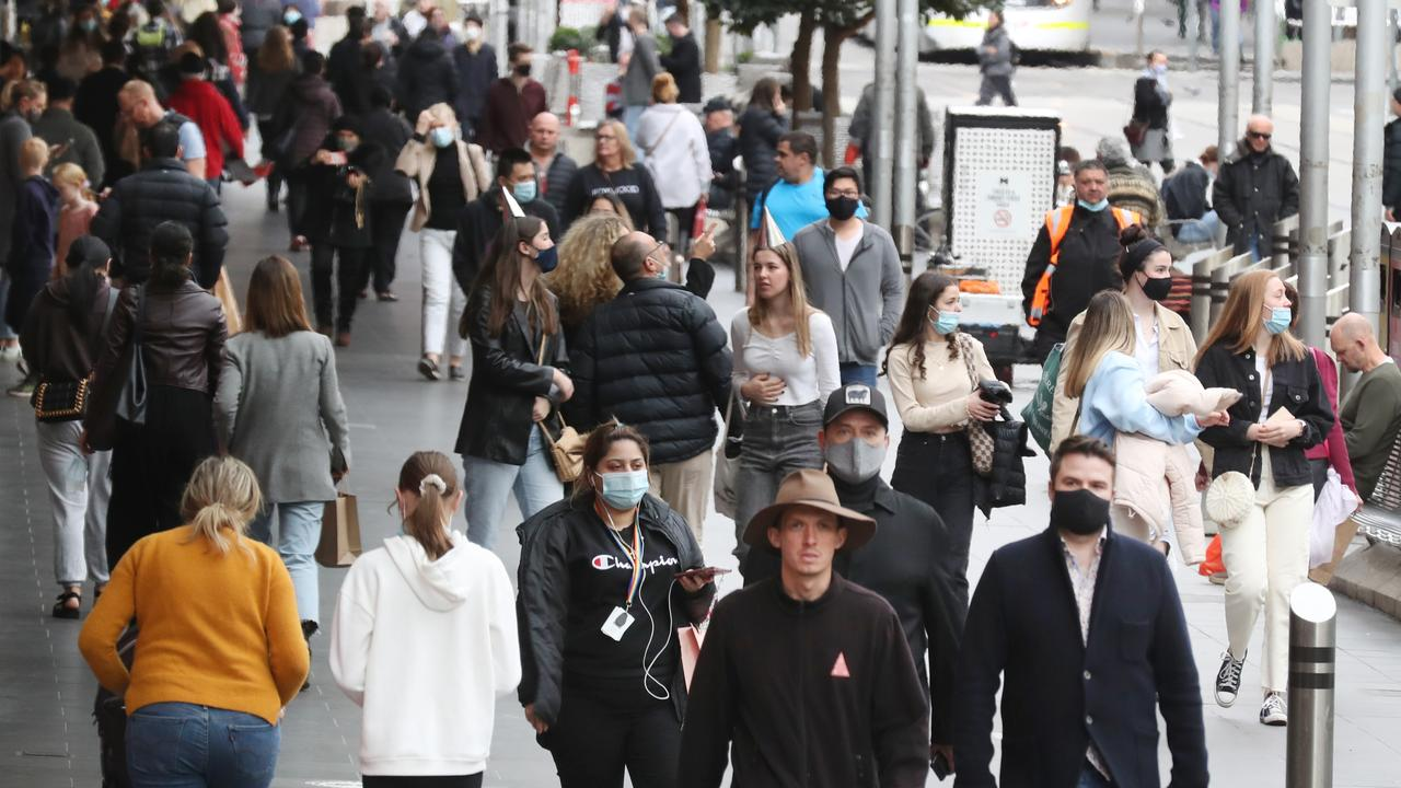 Face masks have been reintroduced in Melbourne as the Sydney outbreak has jumped the border . Picture: NCA NewsWire / David Crosling