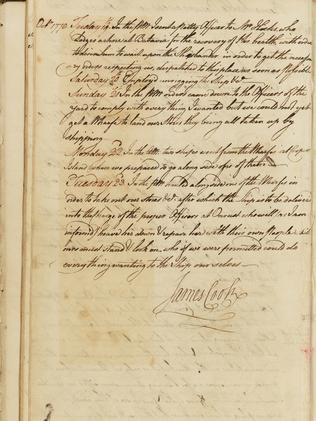 Page from Cook's Endeavour log. Picture: SLNSW