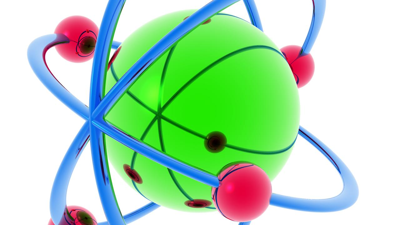 A drawing of an atom.